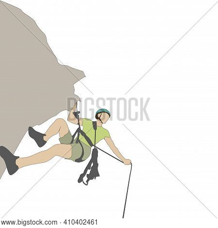 Solo Climber With Rope Go To Up. Illustration Climber Journey Mountain, Accomplish Training To Mount