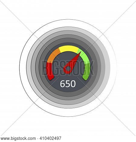 Score Credit Rating For Online Bank Application. Vector Gauge Score Rating, Measurement Scale Perfor