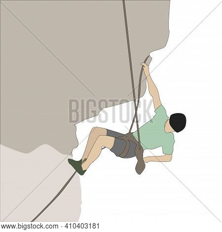 Mountaineer Hanging On Rock Height, Journey Hike Climb To Summit, Man Active Tourism, Vector Rock Wa