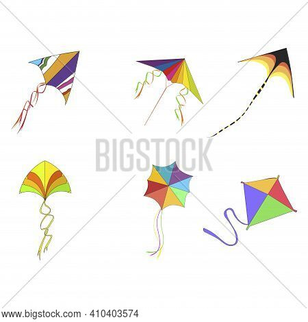 Flying Kites With Rope And Colored Pattern To Playing Kids Or Celebrating Makar Sankranti, Outdoor A