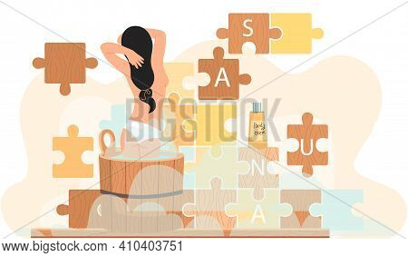 Naked Girl Stands In Barrel And Bathes. Woman In Tub Against Background Of Puzzle With Inscription S