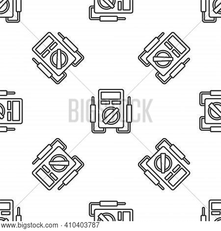 Grey Line Ampere Meter, Multimeter, Voltmeter Icon Isolated Seamless Pattern On White Background. In
