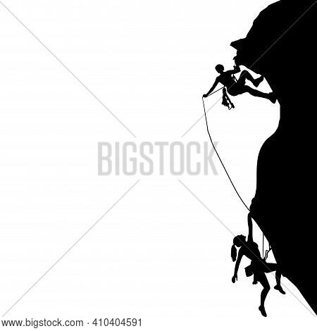 Man And Woman Climbing Black Silhouette, Activity Safety Climber, Extreme Rock Climbing Black White,