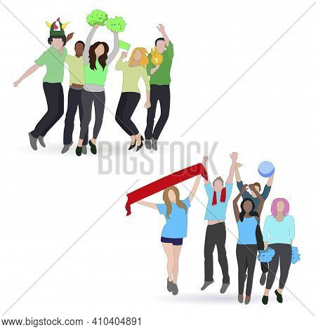 Fan Football Soccer, Crowd People With Sport Scarf Hat On Color Team, Spectator With Flag, Opposite