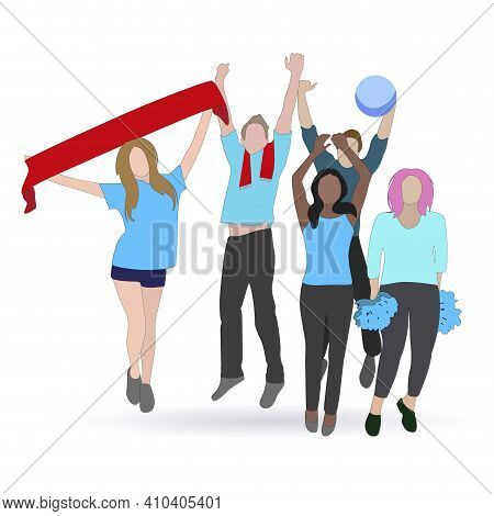 Soccer Fans With Scarf Paraphernalia Jump And Enjoy. Sports Excitement, Spectator Fan Team, Crowd Pe