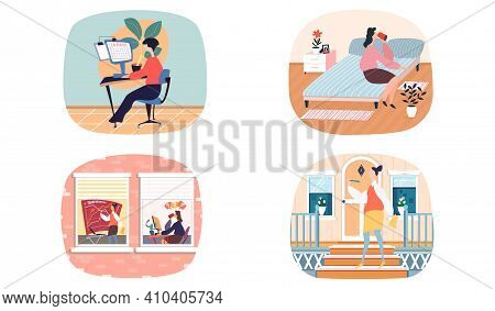Scenes Set Of Daily Leisure And Work Activities Performing By Female. Bundle Of Everyday Routine Sit