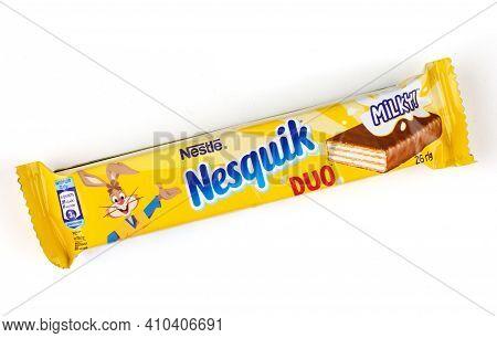 Lviv, Ukraine - February 24, 2021: Nesquik Chocolate Bar Isolate