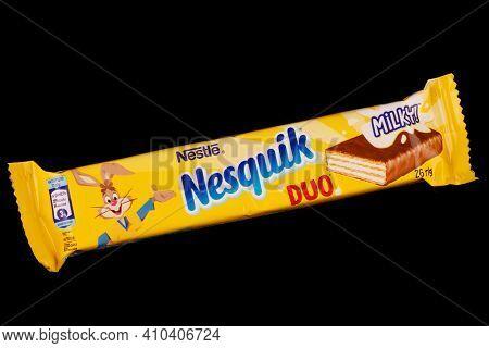 Lviv, Ukraine - February 24, 2021: Nesquik Chocolate Bar