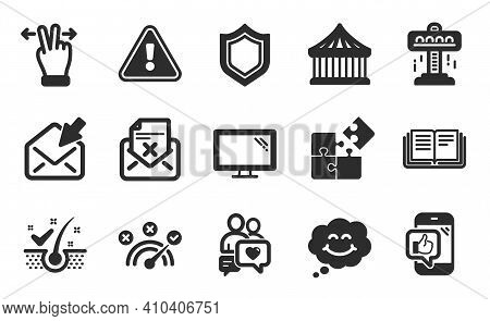 Puzzle, Reject Letter And Monitor Icons Simple Set. Touchscreen Gesture, Anti-dandruff Flakes And Mo