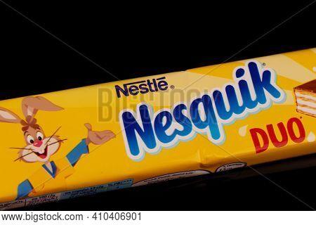 Lviv, Ukraine - February 24, 2021: Nesquik Chocolate Bar On A Black Background