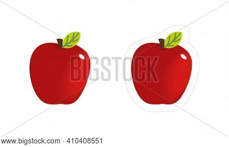 Vector Sticker Of Red Juicy Apple Fruit With White Contour For Die Cut. Cartoon Organic Fruit Icon I