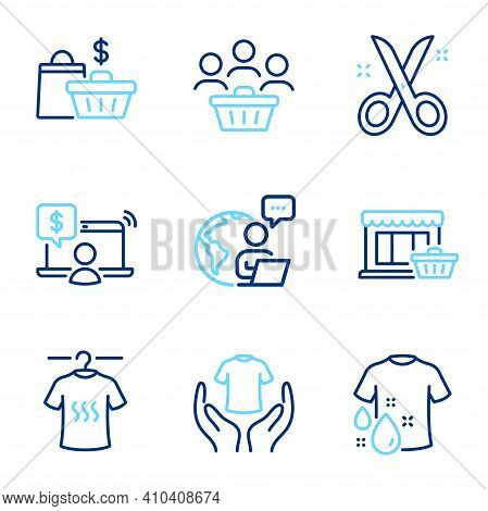 Fashion Icons Set. Included Icon As Dry T-shirt, Hold T-shirt, Marketplace Signs. Scissors, Online S