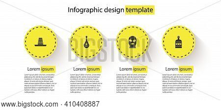 Set Mexican Sombrero, Guitar, Wrestler And Tequila Bottle. Business Infographic Template. Vector