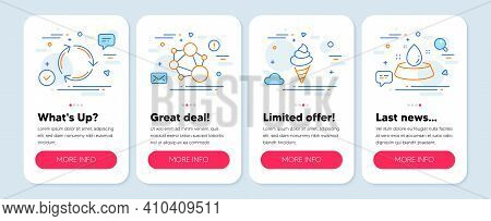 Set Of Line Icons, Such As Integrity, Recycling, Ice Cream Symbols. Mobile Screen Mockup Banners. Wa