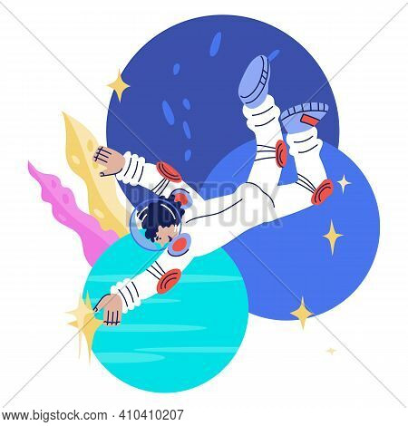 Cosmonaut, Astronaut Or Spaceman Female Comic Character. Universe Research, Space Exploring And Educ