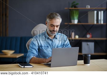 Grey-haired Senior Man Working In Home Office With Laptop. Business Portrait Of Handsome Manager Sit