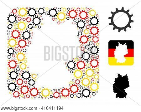 Germany State Map Stencil Mosaic. Stencil Rounded Rectangle Collage Formed From Gear Items In Differ