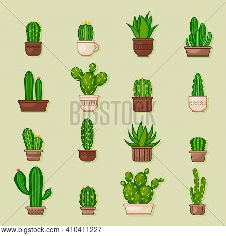 Cactus Icons In A Flat Icon Style On Background. Home Plants Cactus In Pots And With Flowers. A Vari