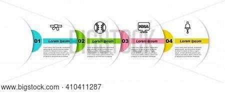 Set Line Black Karate Belt, Baseball Ball, Fight Club Mma And Ringing Bell. Business Infographic Tem