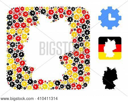 Germany Map Stencil Mosaic. Stencil Rounded Rectangle Collage Created From Clock Settings Icons In V