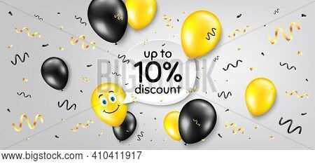 Up To 10 Percent Discount. Balloon Confetti Vector Background. Sale Offer Price Sign. Special Offer