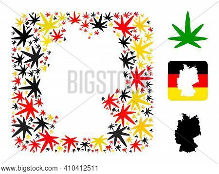 German State Map Hole Mosaic. Hole Rounded Square Collage Created Of Cannabis Leaf Elements In Varia