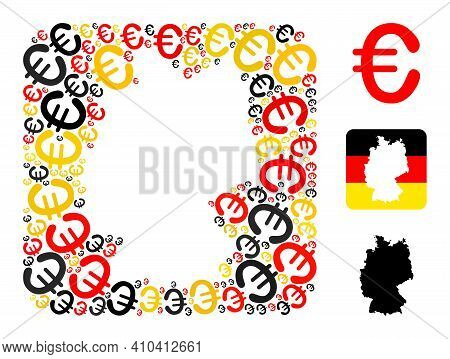 Germany Map Subtraction Mosaic. Stencil Rounded Rectangle Collage Composed Of Euro Elements In Diffe