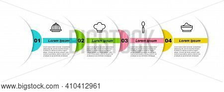 Set Line Pudding Custard, Chef Hat, Spoon And Flour Bowl. Business Infographic Template. Vector