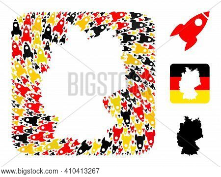 Germany Geographic Map Hole Mosaic. Hole Rounded Square Collage Designed From Rocket Items In Variab