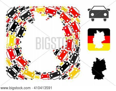 Germany Map Stencil Mosaic. Stencil Rounded Rectangle Collage Formed From Car Icons In Variable Size