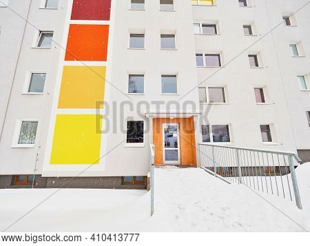 Modern Condo Buildings With Blind Windows In Snow. Cheap Kind Of Social Living In Town Suburb.