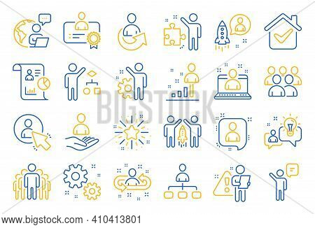 Management Line Icons. Set Of Business Audit, Startup Strategy And Employee Icons. Business Strategy