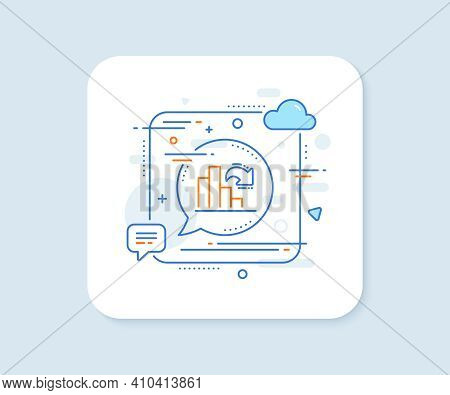 Decreasing Graph Line Icon. Abstract Square Vector Button. Column Chart Sign. Market Analytics Symbo