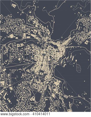 Map Of The City Of Perugia, Umbria, Italy