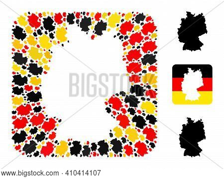 Germany Geographic Map Stencil Mosaic. Stencil Rounded Square Collage Composed Of Germany Map Elemen