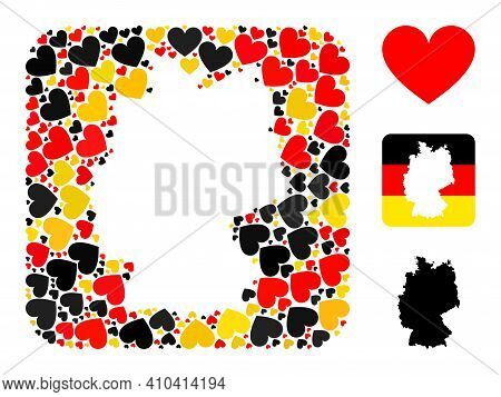 Germany State Map Stencil Mosaic. Stencil Rounded Square Collage Designed With Love Heart Icons In V