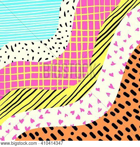 A Vibrant And Colorful Curve Design With Doodle Patterns.