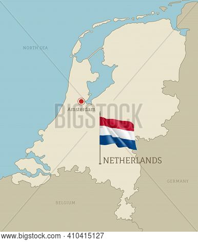 Silhouette Of Netherlands Country Map. Highly Detailed Editable Netherlands Map Country Territory Bo