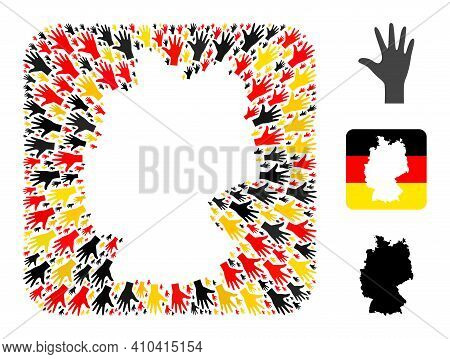 German Map Hole Mosaic. Hole Rounded Square Collage Formed With Palm Fingers Items In Variable Sizes