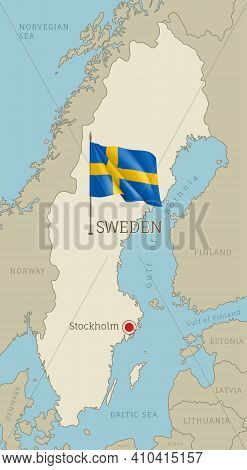 Sweden Highly Detailed Map With Territory Borders, European Country Political Map With Stockholm Cap