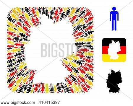 Germany State Map Subtraction Mosaic. Stencil Rounded Rectangle Collage Composed With Man Elements I