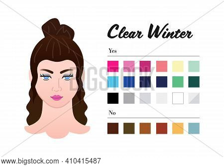 12 Seasons Color Types For Woman - Clear Winter Type. Perfect Color For Your Wardrobe. Do And Do Not