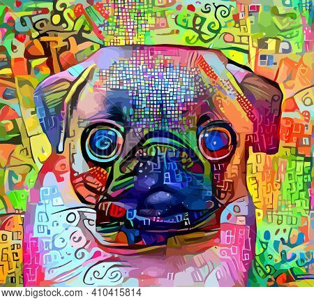 An Artistically Designed And Digitally Painted, Portrait Of A Cute Pug Dog.