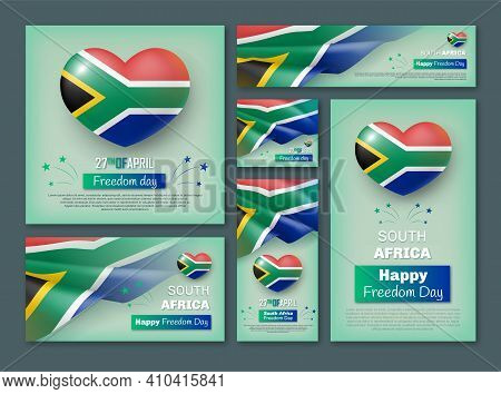 South Africa Happy Freedom Day Banners Set. Holiday Event Celebrated On 27 April Poster, Flyer, Card
