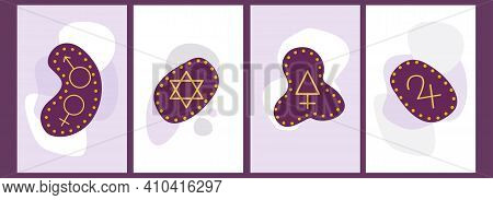 A Set Of Runes With Astrological Signs On Cover Templates And For Backgrounds. Vector Illustration W