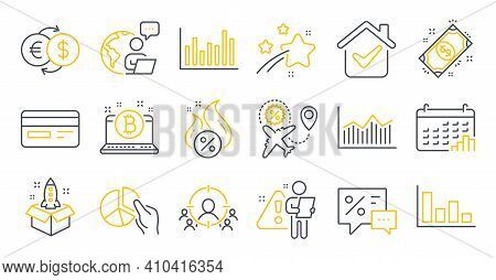 Set Of Finance Icons, Such As Bitcoin, Histogram, Calendar Graph Symbols. Flight Sale, Hot Loan, Bus
