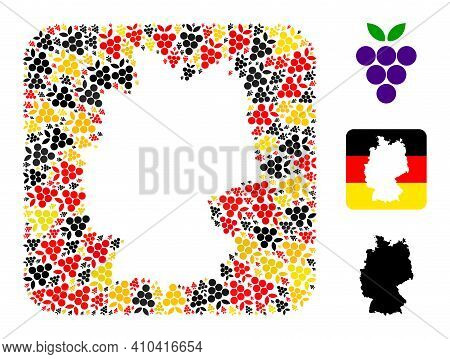 Germany State Map Hole Mosaic. Hole Rounded Square Collage Designed With Grape Berry Icons In Variou