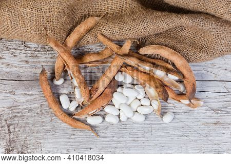 Husked Ripe Large White Kidney Beans And Dry Kidney Bean Pods On An Old Wooden Surface With Sackclot