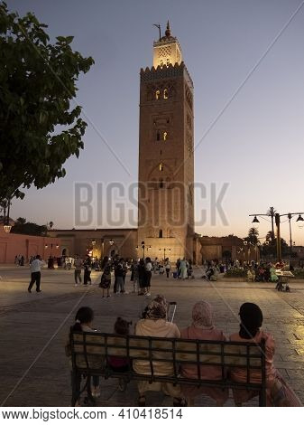 Marrakesh, Morocco- June, 10, 2019: Night Time View Of A Mosques Minaret In Marrakesh