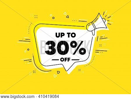 Up To 30 Percent Off Sale. Megaphone Yellow Vector Banner. Discount Offer Price Sign. Special Offer